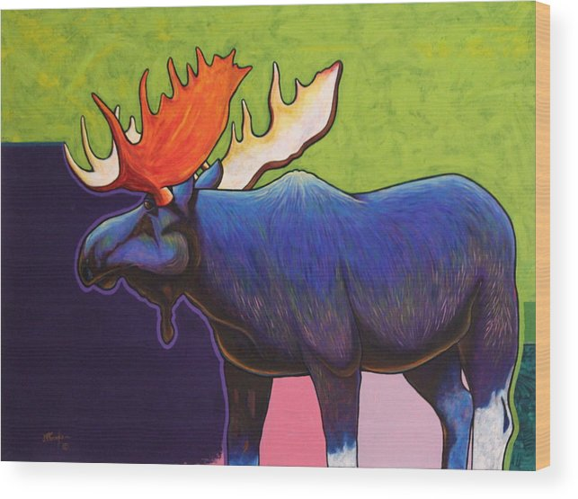 Wildlife Wood Print featuring the painting Battle Tested Bull Moose by Joe Triano