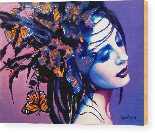 Butterflies Wood Print featuring the painting Betty by Jose Manuel Abraham