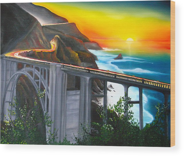 Beautiful California Sunset! Wood Print featuring the painting Bixby Coastal Bridge Of California At Sunset by Dunbar's Local Art Boutique