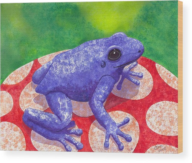 Frog Wood Print featuring the painting Blue Frog by Catherine G McElroy