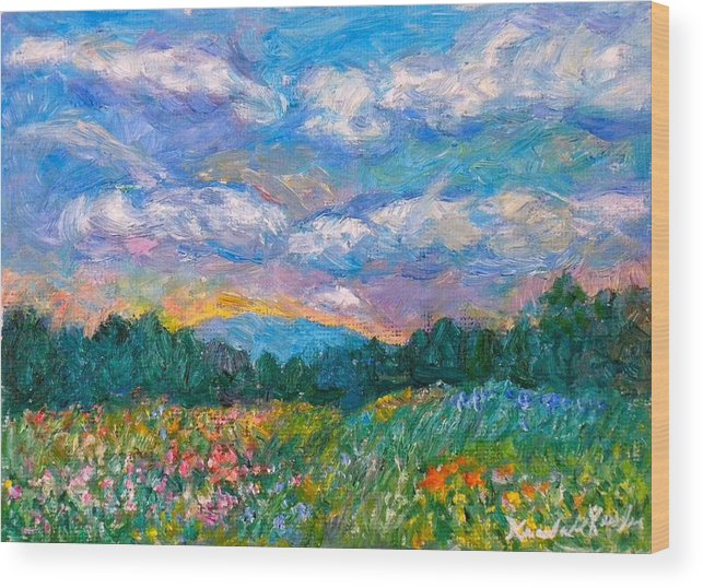 Landscape Wood Print featuring the painting Blue Ridge Wildflowers by Kendall Kessler