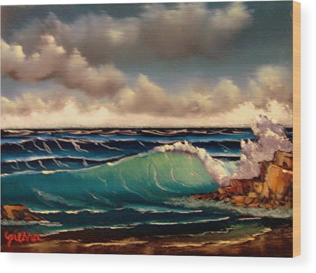 Landscape Wood Print featuring the painting By The Sea by Dina Sierra