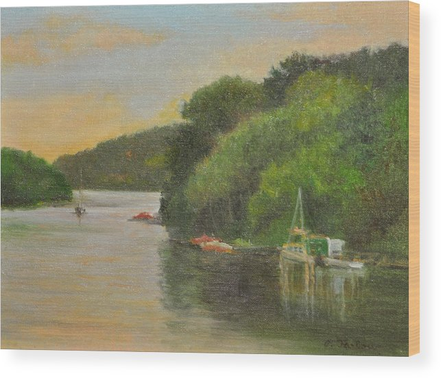 Landscape Wood Print featuring the painting Candlewood Lake Late Afternoon by Phyllis Tarlow