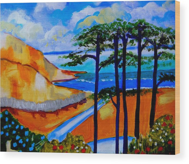 Seaside Wood Print featuring the painting Caswell Bay Wales by Rusty Gladdish