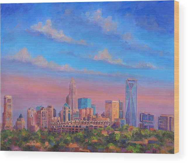 Charlotte Wood Print featuring the painting Charlotte Skies by Jeff Pittman