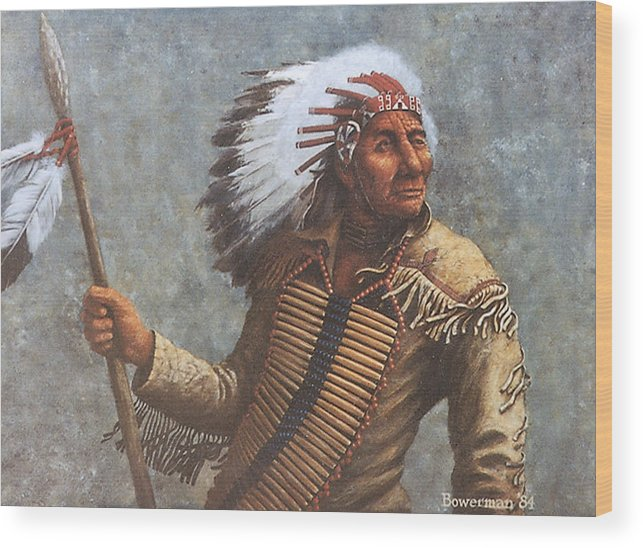 Native American Wood Print featuring the painting Chief Knife by Lee Bowerman
