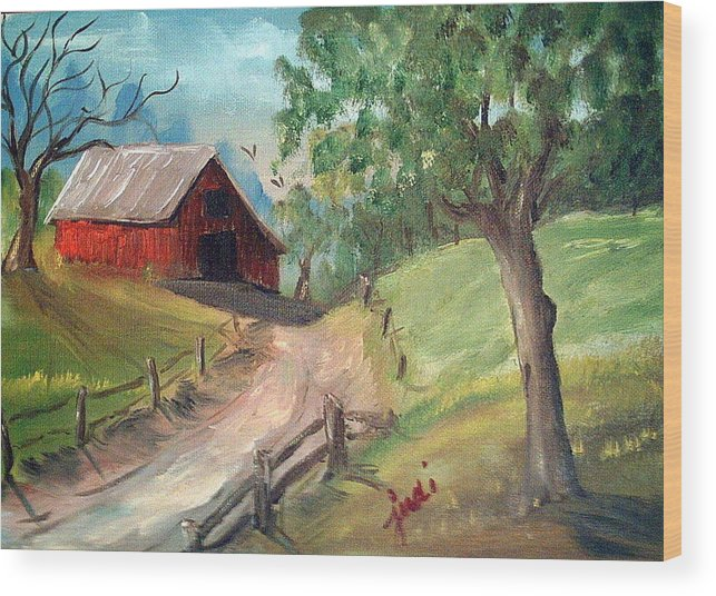 Barn Wood Print featuring the mixed media Country Barn by Judi Pence
