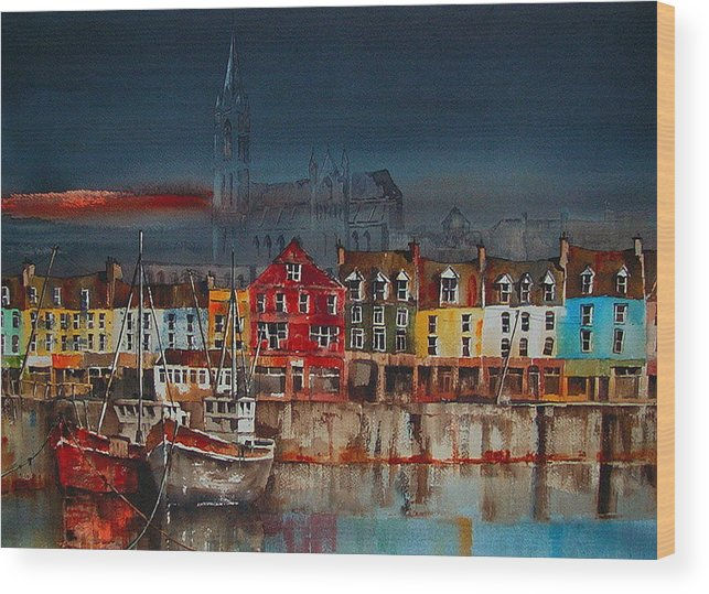 Val Byrne Wood Print featuring the painting Dusk On Cobh Harbour Cork by Val Byrne