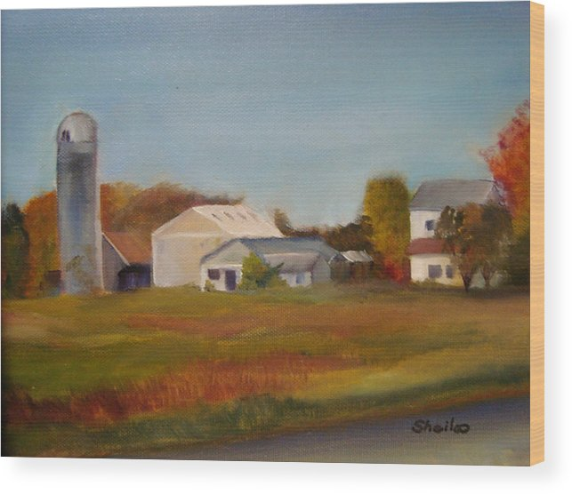 Farm Silo. Plein Aire Wood Print featuring the painting Farm by Sheila Mashaw