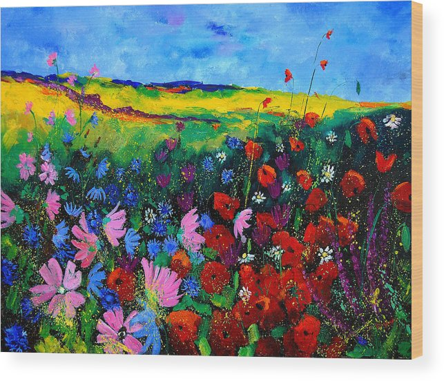 Poppies Wood Print featuring the painting Field flowers by Pol Ledent