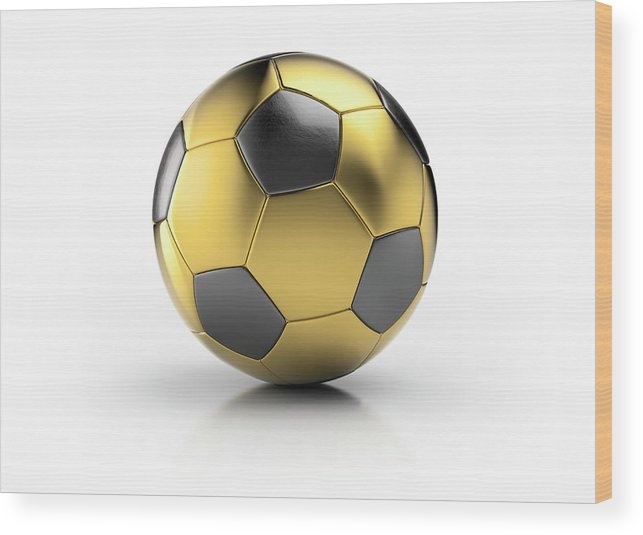 White Background Wood Print featuring the photograph Gold Football by Atomic Imagery