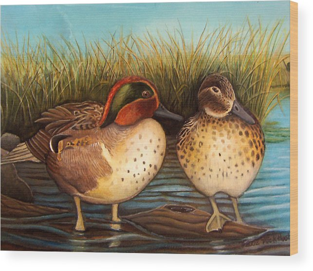Rick Huotari Wood Print featuring the painting Green Winged Teal by Rick Huotari