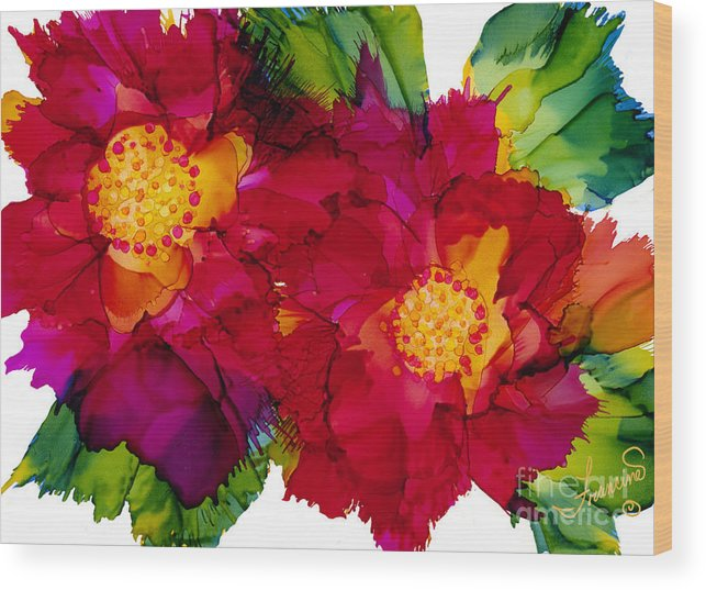 Flowers Wood Print featuring the painting Happy to See You by Francine Dufour Jones