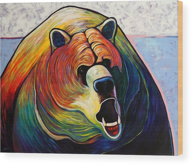 Wildlife Wood Print featuring the painting He Who Greets with Fire by Joe Triano