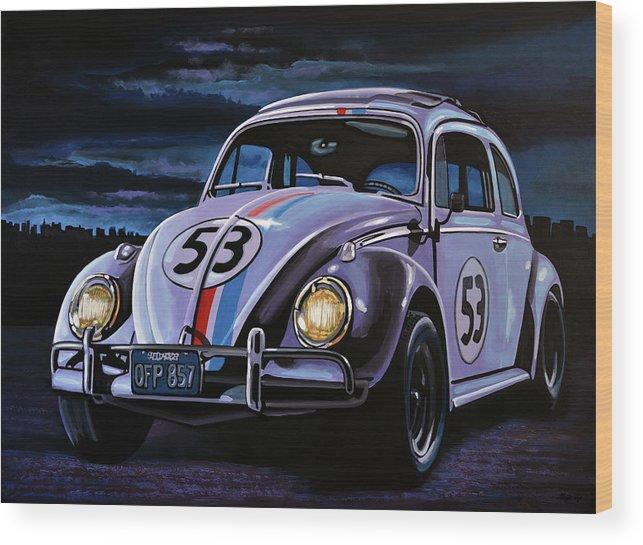 Herbie Wood Print featuring the painting Herbie The Love Bug Painting by Paul Meijering