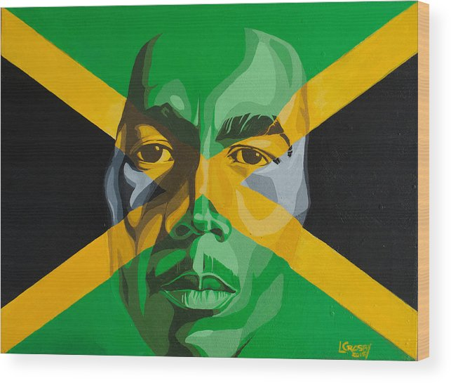 Bob Marley Wood Print featuring the painting I am Jamaica by Lamark Crosby