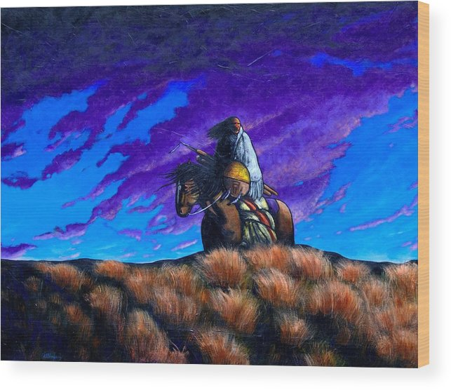 American Indian Wood Print featuring the painting In Search of the Vanished by Joe Triano