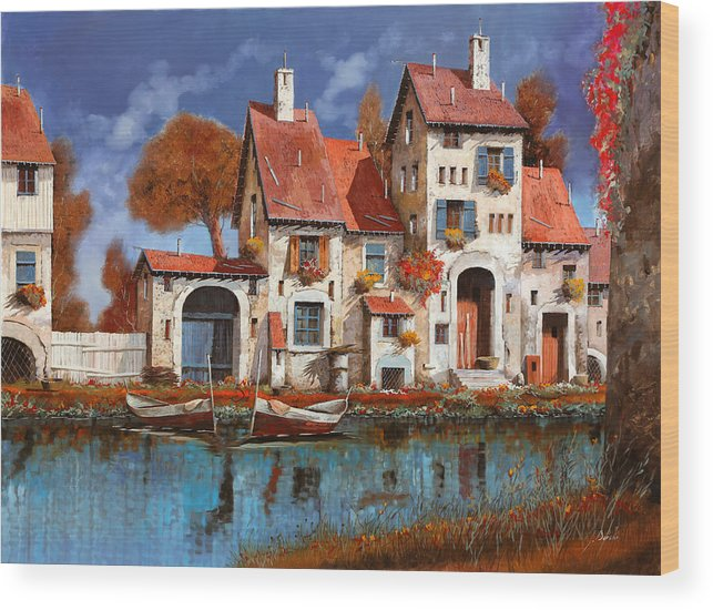 Little Village Wood Print featuring the painting La Cascina Sul Lago by Guido Borelli