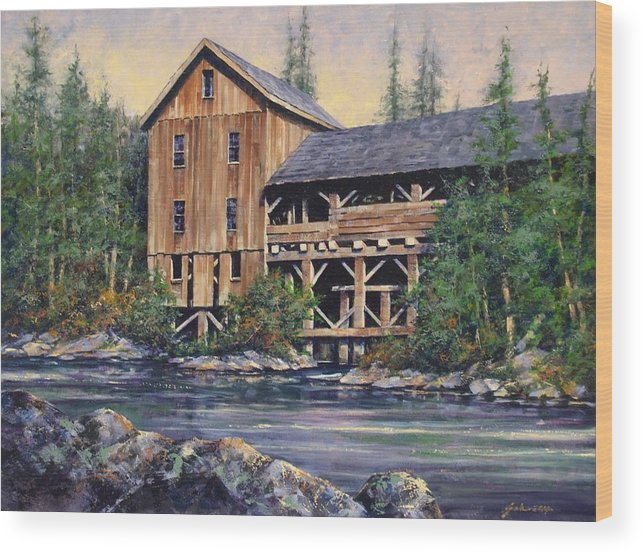 Grist Mills Wood Print featuring the painting Lewisville Grist Mill Afternoon by Jim Gola