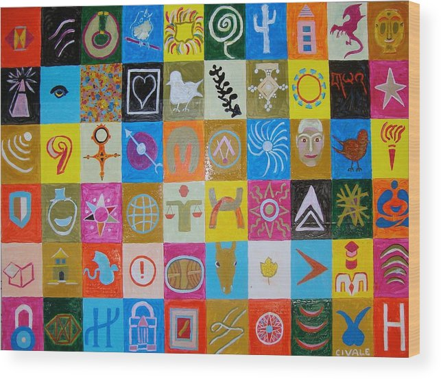 Wood Print featuring the painting Logos and symbols by Biagio Civale