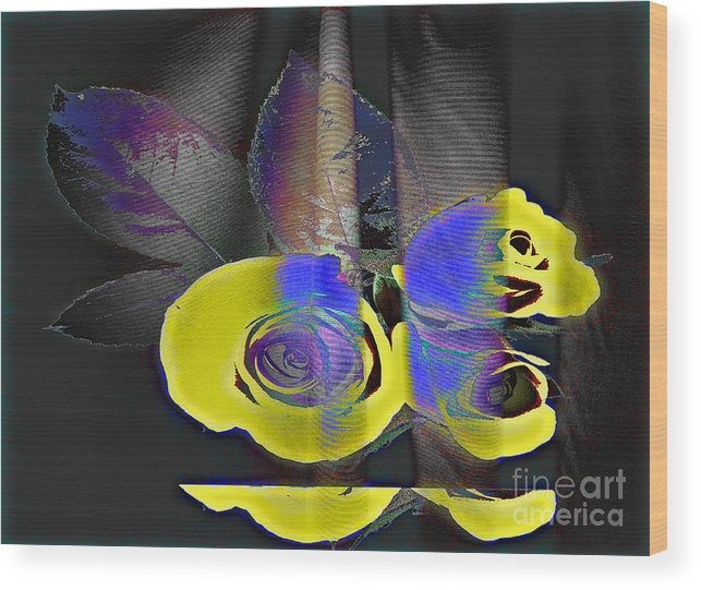 Yellow Rose Image Wood Print featuring the digital art Lovely II by Yael VanGruber