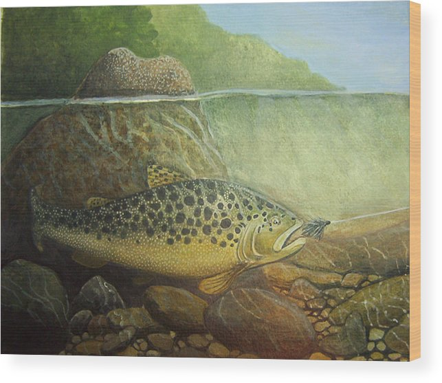 Rick Huotari Wood Print featuring the painting Lurking by Rick Huotari