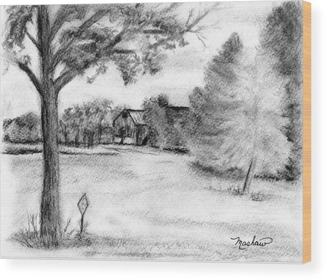 Farm Wood Print featuring the drawing Medford Farm by Sheila Mashaw
