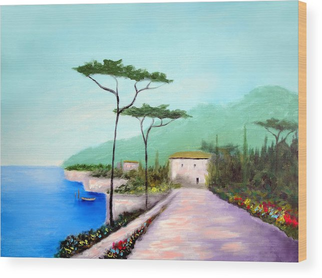 Lake Como Wood Print featuring the painting Memories Of Lake Como by Larry Cirigliano