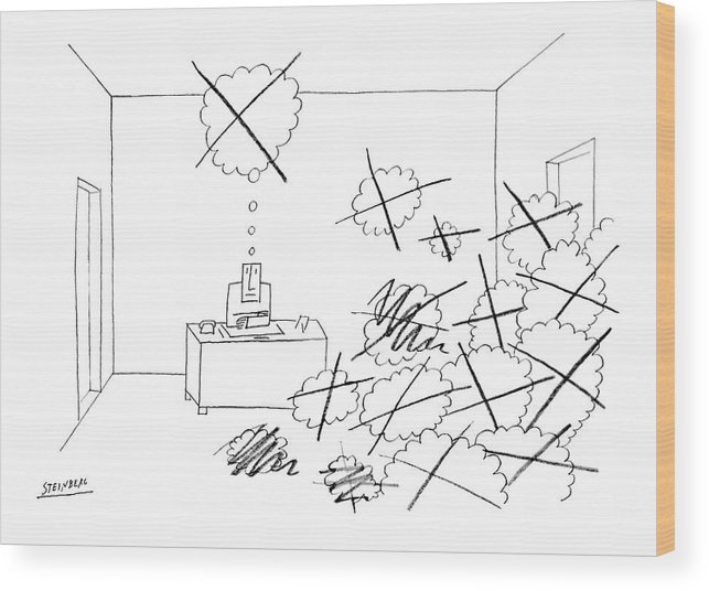(man At Desk Alone Wood Print featuring the drawing New Yorker October 4th, 1969 by Saul Steinberg