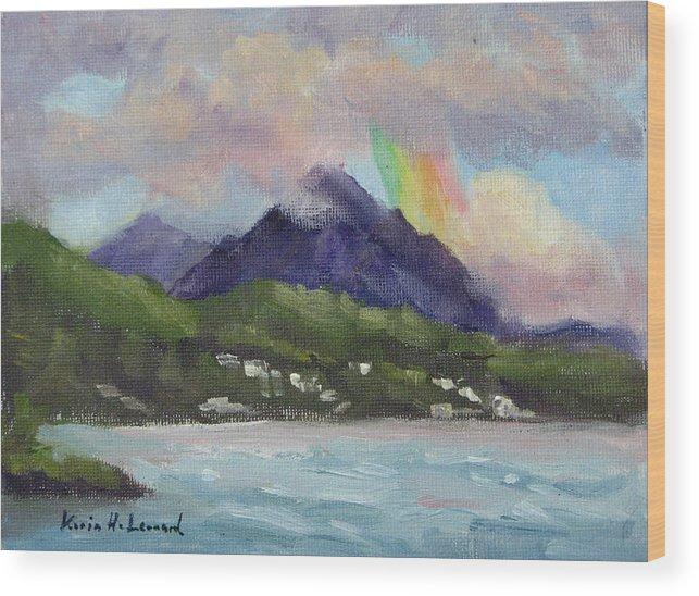 Hawaii Wood Print featuring the painting Oahu North Shore Rainbow by Karin Leonard