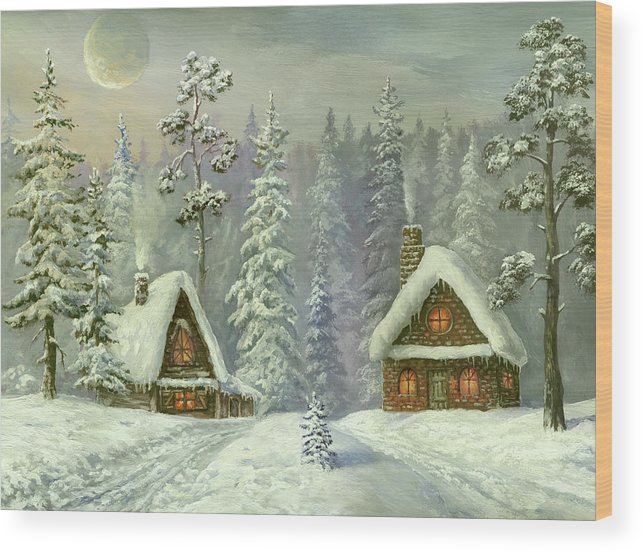 Art Wood Print featuring the digital art Old Christmas Card by Pobytov