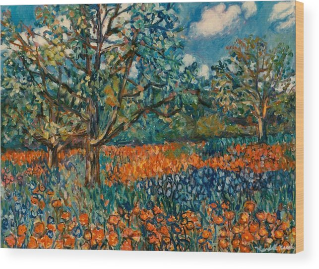 Flowers Wood Print featuring the painting Orange and Blue Flower Field by Kendall Kessler