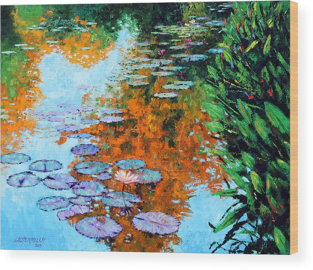 Garden Pond Wood Print featuring the painting Passing Season by John Lautermilch