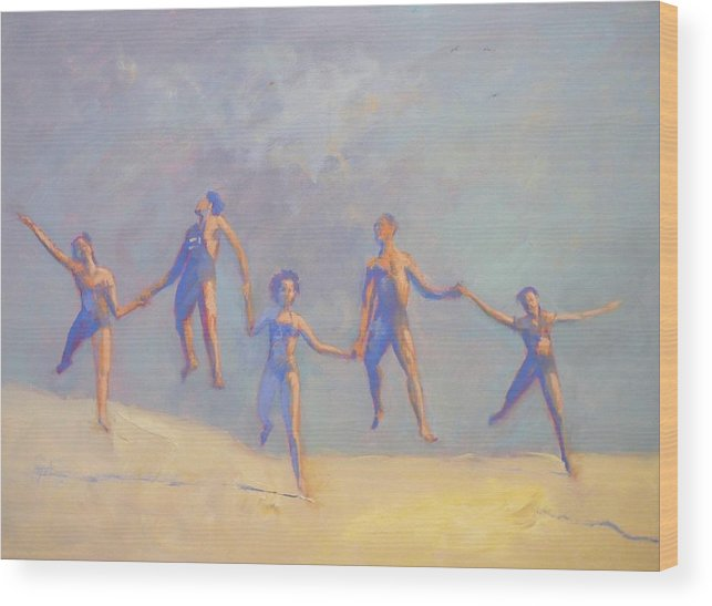 Girls Wood Print featuring the painting SOLD People Love to Move by Irena Jablonski