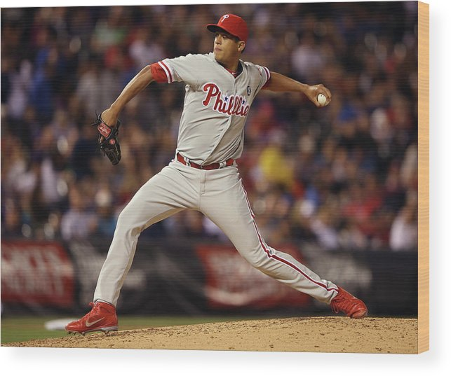 Relief Pitcher Wood Print featuring the photograph Philadelphia Phillies V Colorado Rockies by Doug Pensinger