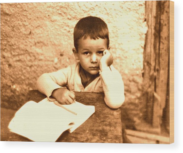 Photography Wood Print featuring the photograph Portrait of the Artist as a Young Boy by ITI Ion Vincent Danu