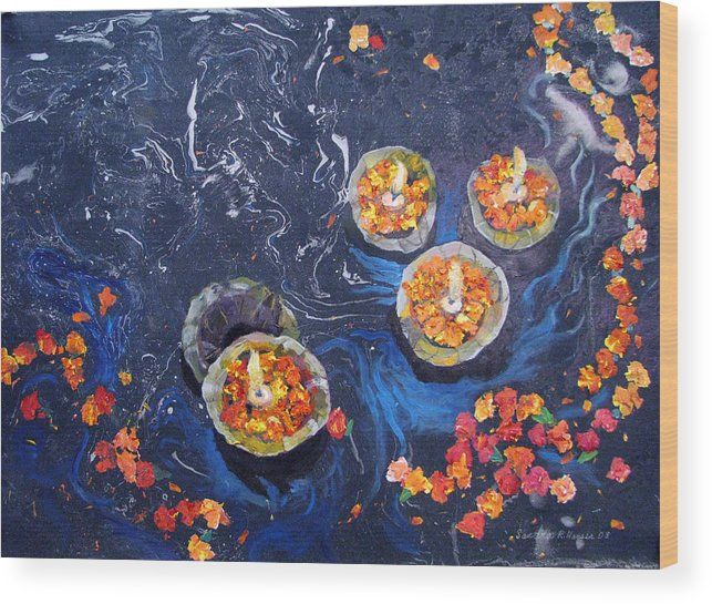 Handmade Paper Wood Print featuring the painting Prayers to the Ganges River by Art Nomad Sandra Hansen