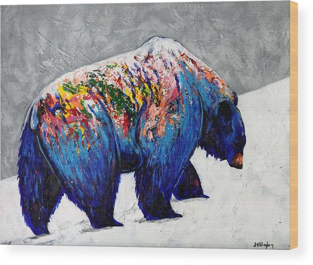 Wildlife Wood Print featuring the painting Rainbow Warrior - Heavy Going Grizzly by Joe Triano