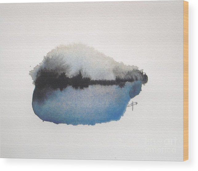 Abstract Wood Print featuring the painting Reflection in the lake by Vesna Antic