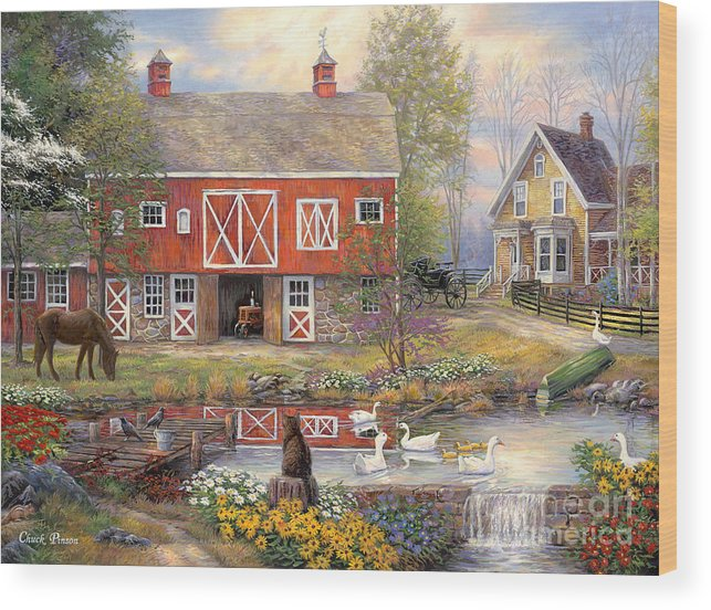 Americana Wood Print featuring the painting Reflections on Country Living by Chuck Pinson