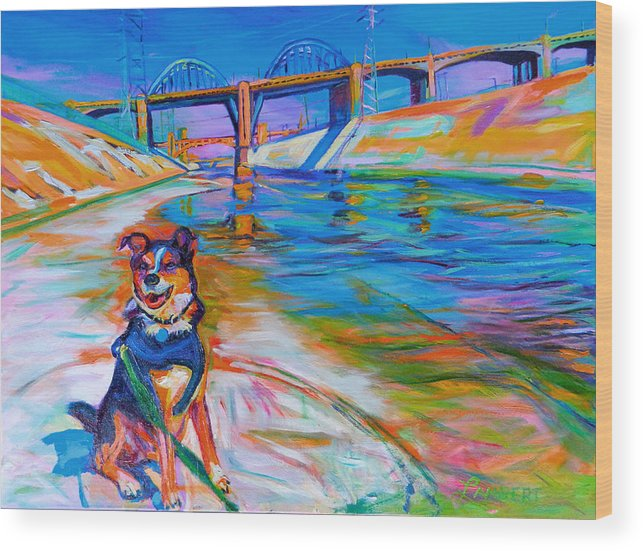Dog Wood Print featuring the painting Scout the River Guard by Bonnie Lambert