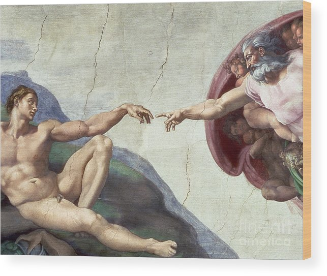 Renaissance Wood Print featuring the painting Sistine Chapel Ceiling by Michelangelo Buonarroti