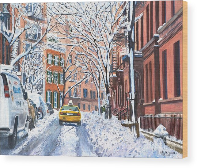 Snow Wood Print featuring the painting Snow West Village New York City by Anthony Butera