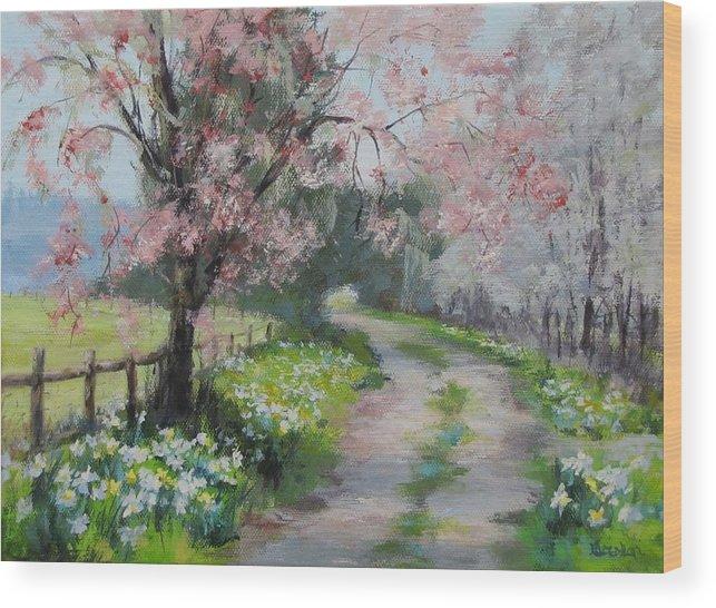 Original Wood Print featuring the painting Spring Walk by Karen Ilari