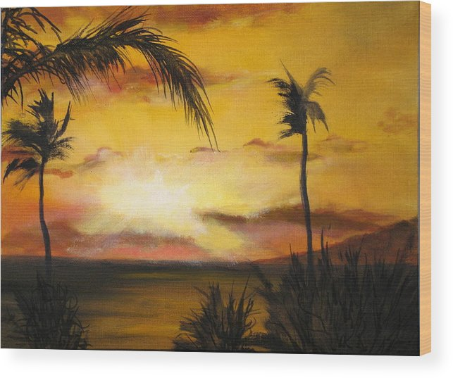 From The Maui Sunset Resort Wood Print featuring the painting Sunset from the balconey by Thomas Restifo