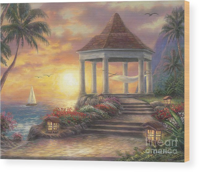 Gazebo Wood Print featuring the painting Sunset Overlook by Chuck Pinson