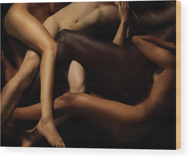 Young Men Wood Print featuring the photograph Tangled Human Bodies Of Different Skin by Jonathan Knowles