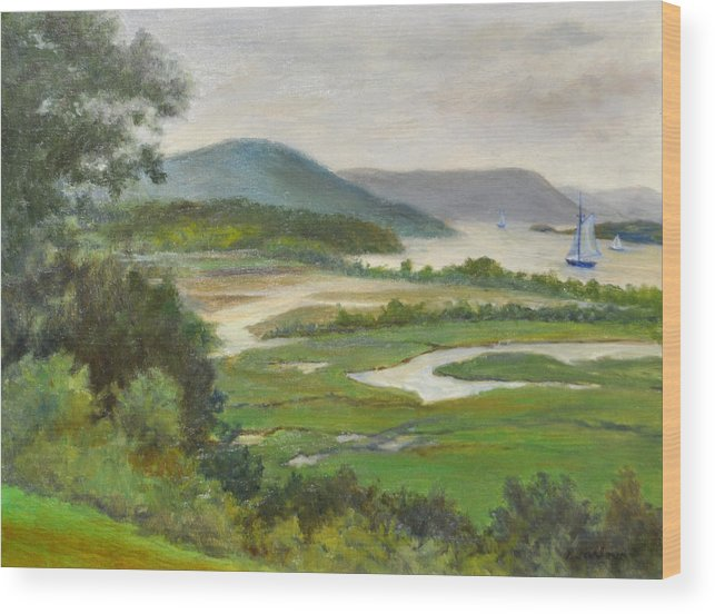 Landscape Wood Print featuring the painting The Clearwater Passing Boscobel by Phyllis Tarlow