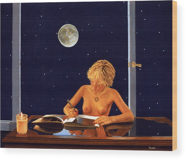 Nude Wood Print featuring the painting The Illustrator by Robert Tracy