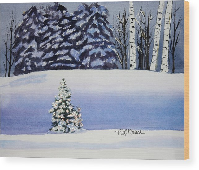 Christmas Wood Print featuring the painting The Lone Christmas Tree by Patricia Novack